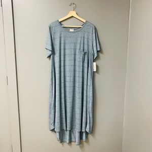 NWT LuLaRoe Light Blue-Striped Carly Dress